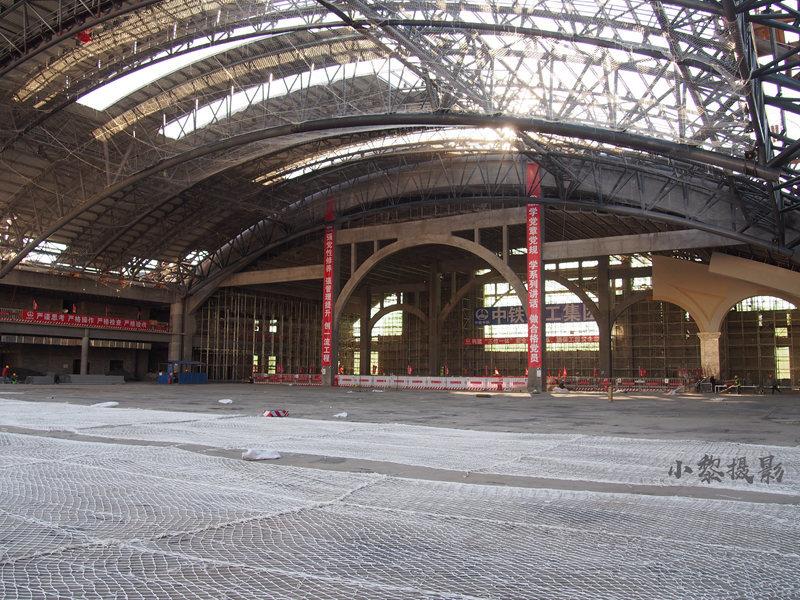 2018年正在建设中的哈尔滨火车站站舍内部